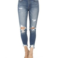 Clara Faded Medium Wash Distressed High Rise Cropped Skinny Jeans