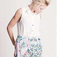 Magnolia High Waist Flower Graphic Cullottes in Lavender by Insight | Edge of Urge