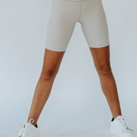 Ribbed Biker Shorts (Sand)