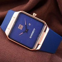 Givenchy Watch Trending Square Gold Edge Women Men Lovers Watch Blue+Gold