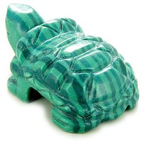 Evil Eye Protection Turtle Malachite Gemstone Carving