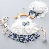 Summer Newborn Baby Girl Clothes Strap Bow Vest + Floral Shorts + Fashion Hat 3Pcs Set Baby Clothing Suit For Girls Clothes