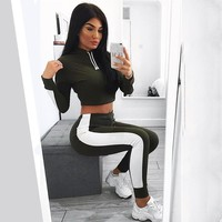 DeRuiLaDy 2018 Autumn Winter 2 Piece Set Women Suit Outfit Two Piece Set Crop Top Sweatpants Set Crop Hoodie Casual Sets