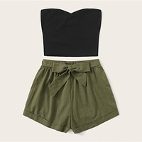 Solid Tube Top And Belted Shorts Set Casual Strapless Sleeveless Bandeau Straight Women Two Piece Set