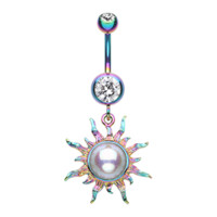 Rainbow Radiant Blazing Sun Belly Button Ring Navel Ring Body Jewelry