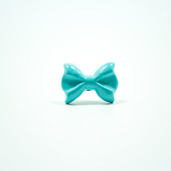 Blue Bow Ring, Polymer Clay Ring, Bow Ring
