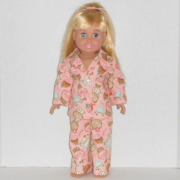 American Girl Doll Pink and Brown Flannel Pajamas with Cupcakes fits 18 inch Dolls