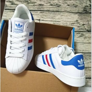 """Summer11""""Adidas"""" Fashion Shell-toe Flats Sneakers Sport Shoes White (blue red line)"""