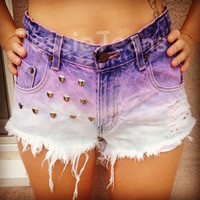 highwaisted denim shorts purple ombre by JessieJeans on Etsy