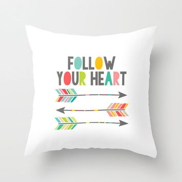 """Inspirational """"Follow Your Heart"""" arrow inspired quote, typography home decor throw pillow cover, decorative pillow home accessory"""