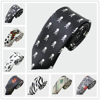 "2"" slim men ties necktie black skull skinny tie ties for men"