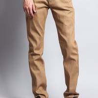 Men's Skinny Fit Raw Denim Jeans (Khaki)