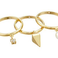 Rebecca Minkoff Set of Three Pearl/Crystal Charms Rings Gold/Pearl/Crystal - Zappos.com Free Shipping BOTH Ways