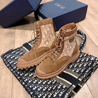 Dior Men's And Women's Leather Fashion High Top Boots Sneakers Shoes
