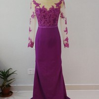 2018 Purple Mermaid Bridesmaid Dresses Lace Appliques Long Sleeves Wedding Party Gown maid of honor dresses for wedding