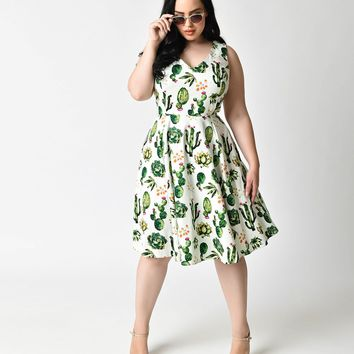 Plus Size 1950s Style White & Green Cactus Print Sleeveless Swing Dress