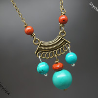 Natural turquoise healing retro bronze dangle necklace