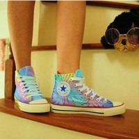 DCCKHD9 Custom shoes women shoes high tops painting galaxy converse