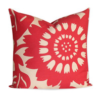 """Duralee Thomas Paul Red """"Stockholm"""" Pillow Cover - 22x22 - SAME Fabric BOTH SIDES - Invisible Zipper"""