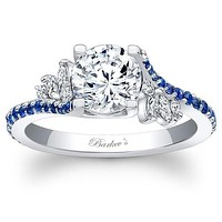 "Barkev's Blue Sapphire Prong Set ""Flare"" Diamond Engagement Ring"