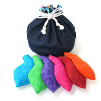 Bucket Bag Navy Denim & Blue Rainbow Fish with Goldfish Shaped Bean Bags (set of 6) Party Game Children's Toy - US Shipping Included
