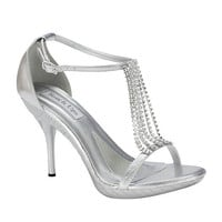 Crystal Falls Silver Cherise Heels - 5 to 11 - Unique Vintage - Homecoming Dresses, Pinup & Prom Dresses.