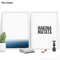 HAKUNA MATATA Ocean Nordic Scandinavian Decor Art Decor Posters and Prints Wall Picture for Living Room Wall Art Canvas Print