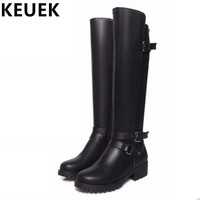 Women Knee-High Motorcycle boots Soft Leather Fashion Riding Equestrian boots Female Winter boots 03