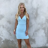 First Date Bodycon Dress in Baby Blue