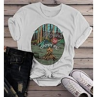 Women's Camping Shirt Life Better Around Campfire Shirts Retro TShirt Hipster Shirts Vintage T Shirt