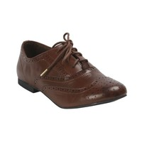 Breckelle's OXFORD-88 Basic Broque Lace Up Oxford Flat 7 B(M) US Tan
