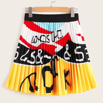 Letter Print Colorful Pleated Skirt