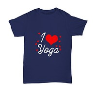 I love Heart Yoga Workout Fitness T-Shirt