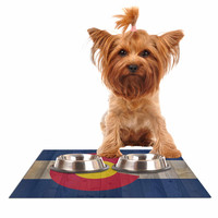 """Bruce Stanfield """"Flag of Colorado"""" Blue Red Dog Place Mat"""