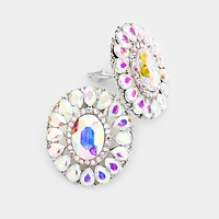 Crystal Oval Teardrop Marquise Evening Clip On Earrings