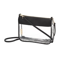 Stadium Approved Clear Crossbody Purse in Black without Monogram
