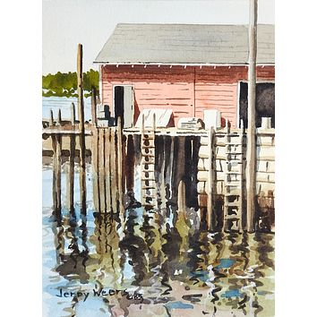 Jerry Weers Marina Boat Dock Watercolor Painting