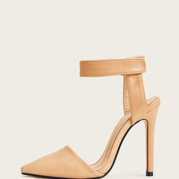 Apricot Pointy Toe Ankle Strap Stiletto Heels