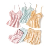Summer New Silk Sleepwear Pajama Set