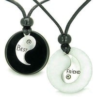 Double Lucky Best Friends Yin Yang Medallions Amulets in White Jade and Black On