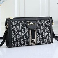 Dior new embroidered printed letters ladies shopping shoulder bag messenger bag Black&Gray
