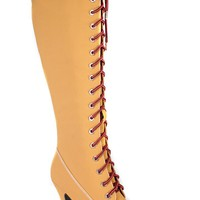TAN SUEDE MATERIAL FRONT LACE DESIGN KNEE HIGH CASUAL HIGH HEEL BOOTS