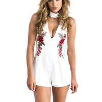Romper Jumpsuit w/ Floral Embroidery