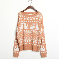 pastel peach cats pattern sweater FOLLOW ME AND ENJOY!