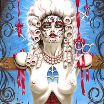 Crucified Marie Antoinette Sugar Skull Doll archival print