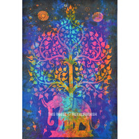 Small Blue Colorful Tie Dye Hippie Elephant and Tree Tapestry Wall Hanging on RoyalFurnish.com