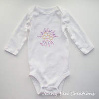 Baby Onesuit Bodysuit Established 2014 with Yellow and Pink Flower, Baby Girl, Long Sleeve, Size 3 to 6 Months