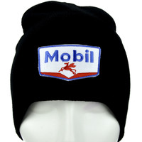 Mobil Oil Gas Station Beanie Alternative Clothing Knit Cap 90's Gunge