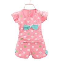 2017 summer girl baby clothes outfit casual sports suit 2pcs sets for infant baby girls brand design Korean dots clothing sets