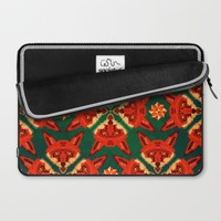 Fox Cross geometric pattern Laptop Sleeve by Chobopop